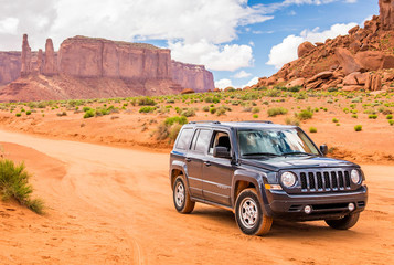 MONUMENT VALLEY, UTAH, USA - MAY 25, 2015 - Jeep Patriot is a four-wheel drive off-road and sport utility vehicle (SUV), manufactured by American automaker Chrysler