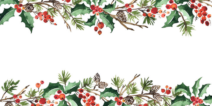 Christmas watercolor horizontal arranging with holly berries, spruce and pine cones