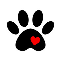 trail of dog with heart isolated on white background. love pet icon logo.