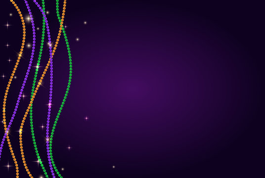 Greeting card template with beads for Mardi Gras for decoration and covering. Vector Illustration