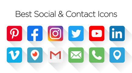 Facebook, twitter, instagram, youtube, pinterest,  Collection social & contact