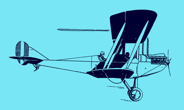Fast flying historical two-seater biplane aircraft in side view on a blue background. Editable in layers