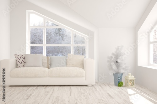 Remarkable Stylish Room In White Color With Sofa And Winter Landscape Gmtry Best Dining Table And Chair Ideas Images Gmtryco
