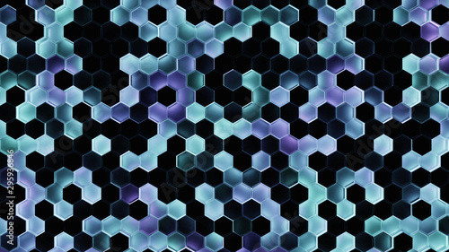 3d Render Hexagon Abstract Background In Dark Theme With