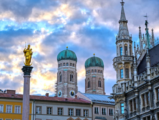 The Frauenkirche, or Cathedral of Our Dear Lady) located in Munich, Bavaria, Germany.