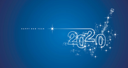 New Year 2020 line design firework champagne shining white blue vector Fotomurales