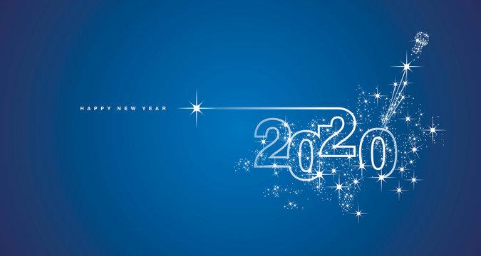 New Year 2020 line design firework champagne shining white blue vector