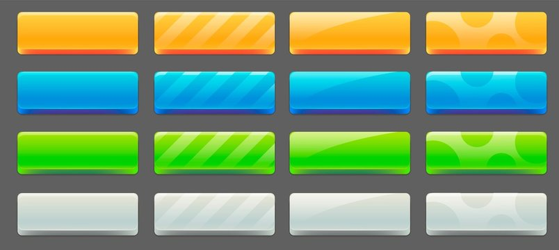 User interface colorful buttons set