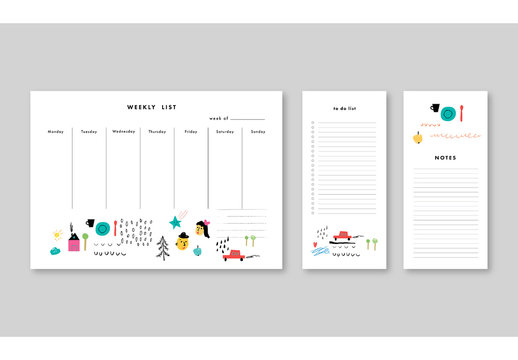 Illsutrative Weekly Planner with Notes and To Do List Layouts