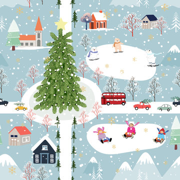 Vector Seamless Winter wonderland with kid and polar bear playing ice skates for celebrating on Christmas Day, Flat cute cartoon pattern for wrapping paper or fabric