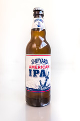 Valencia, Spain - October 11, 2019: Shipyard brand beer bottle, typical American ipa beer.
