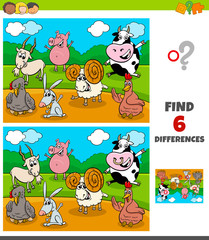 differences game with funny farm animal characters