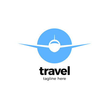 A traveling vector logo with the concept of a plane in globe circle shape. modern abstract and elegant design