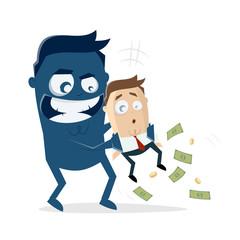 big blue man taking the money of a businessman