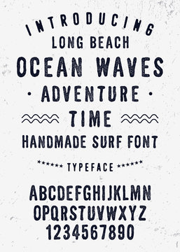 Original Handmade Textured Font. Retro Typeface. Vector Illustration.