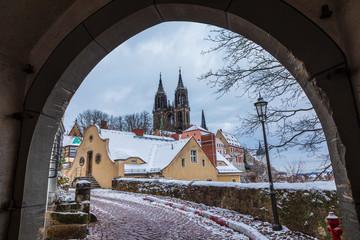 alte Gasse im Winter in Meißen Altstadt