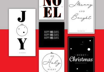 Black and White Christmas Social Media Layout Set with Red Accents