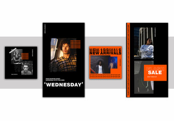 Orange and Black Social Media Layout Set with Typographical Accents