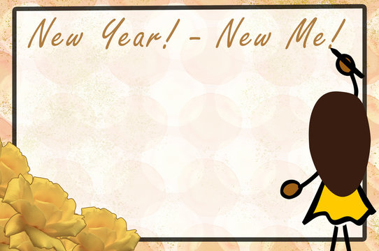 New Years resolutions_Girl_African-American_roses_signboard_dotted_background_Collage_by jziprian