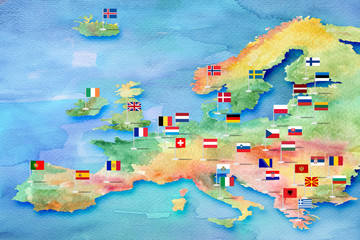 Sketch of the map of Europe painted with watercolor paints with flags of countries