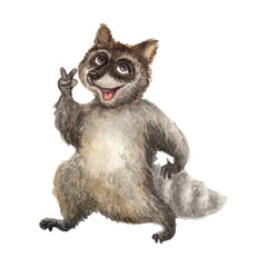 watercolor illustration of a cheerful raccoon on a white