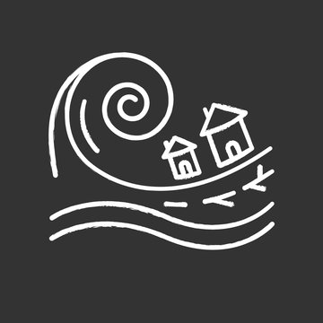 Tsunami chalk icon. Groundswell. Ocean storm washing settlement. Sea wave destruct houses. Hurricane damage. Flash flood. Natural disaster catastrophe. Isolated vector chalkboard illustration