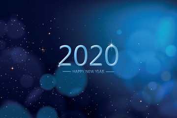 Happy new year 2020 with blue bokeh light sparkling on dark blue  background, Holiday greeting card Wall mural