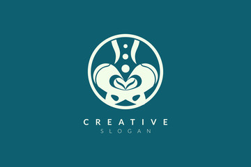 Vector illustration of pelvic bone shape design. Minimalist and simple logo, flat style, modern icon and symbol.