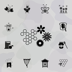 combs and flowers icon. Universal set of beekeeping for website design and development, app development
