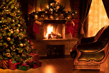 Fotobehang Bomen Christmas decorated interior with fireplace, armchair, window and tree