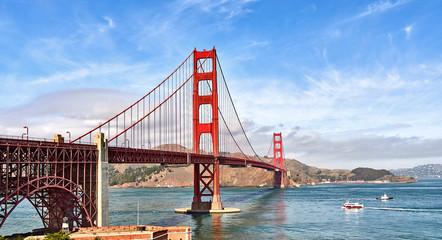 Breathtaking Golden Gate Bridge San Francisco Ocean Shoreline Blue Skies Ship