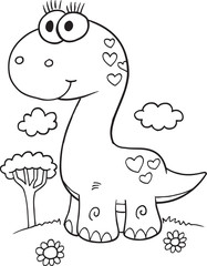 Tuinposter Cartoon draw Cute Dinosaur Illustration Vector Art