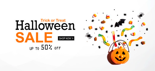 Halloween sale banner with Halloween pumpkin and decorations