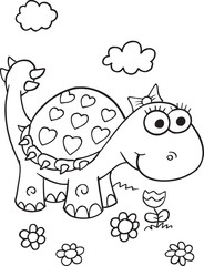 Tuinposter Cartoon draw Cute Dinosaur Vector Illustration Art