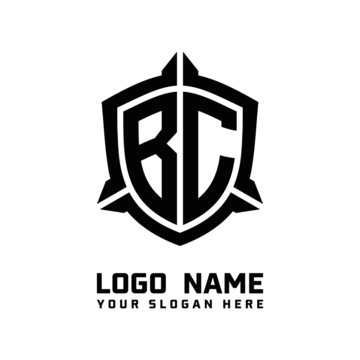 initial BC letter with shield style logo template vector. shield shape black monogram logo