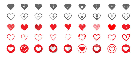 Set of hearts icons different style. Big collection symbol of heart. Vector illustration.