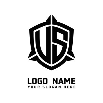 initial US, VS letter with shield style logo template vector. shield shape black monogram logo