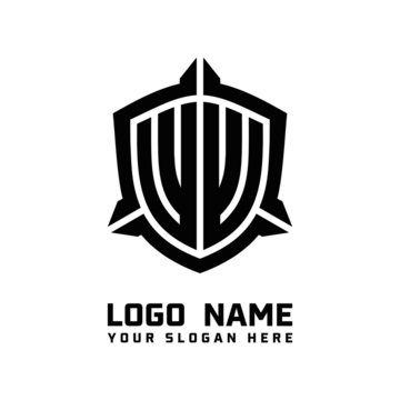 initial WW letter with shield style logo template vector. shield shape black monogram logo
