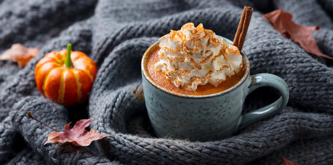 Pumpkin latte with spices. Boozy cocktail with whipped cream. Grey knitted background.