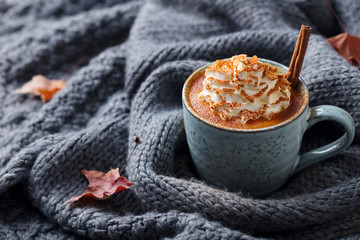 Pumpkin latte with spices and whipped cream. Grey knitted background. Copy space.