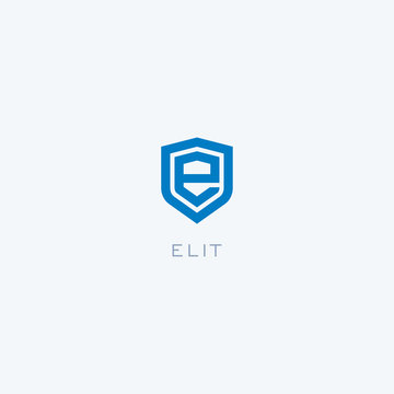 Abstract linear letter initial e shield logo icon design modern minimal style illustration vector.