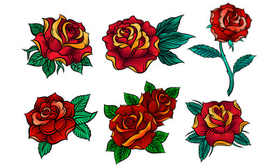 Beautiful Red Roses In Tattoo Style Vector Illustrations Set