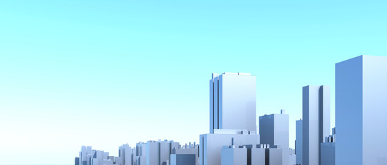 Foto auf AluDibond Licht blau City Urban, 3D panorama on blue sky. Architectural render illustration. Apartment rental - advertising promotion banner. Office business center environment. High-rise skyscrapers - rental estate city