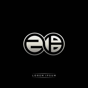 ZB initial letter linked circle capital monogram logo modern template silver color version