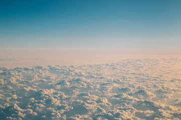 View of sky with clouds from airplane