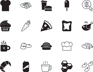 food vector icon set such as: pattern, farming, seo, cone, pepperoni, ppc, fried, swirl, juice, hamburger, party, company, mocha, menu, takeaway, carrot, metal, bird, icons, pizza, cheese, payment