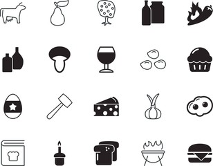food vector icon set such as: mexican, dinner, texture, sliced, barbeque, shallot, image, baking, red, burn, calf, party, equipment, fried, autumn, recipe, chia, vintage, roll, decorative, branch