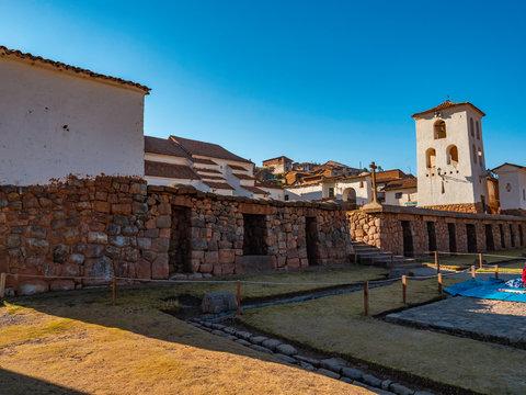 Chinchero village overlooking the bell tower of the Main Square, Chinchero village, Cusco region, Peru