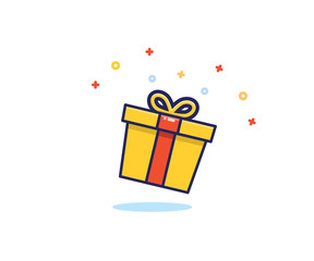 Gift box with prizes exploding with sparkles and confetti. Vector flat icon illustration for birthday, christmas, promotions, contests, marketing, etc