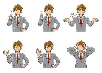 Fototapeta 茶髪の若いビジネスマンの上半身6点セット1 obraz